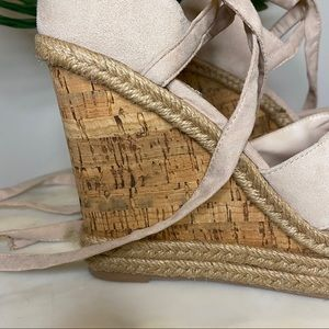 Topshop Shoes - NEW Top Shop Suede Lace-up Ankle Wedge Sandals